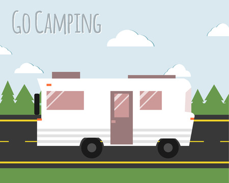 rv: Summer camp travel poster. Motorhome on the road. Outdoor activity and vacation banner. Vector illustration.
