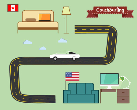 Couch surfing concept. Travel infographic. Share your sofa. Car on the road. 2015. Travel all over the world for free. Can be used as poster, banner, card, template etc. Flat design. Vector