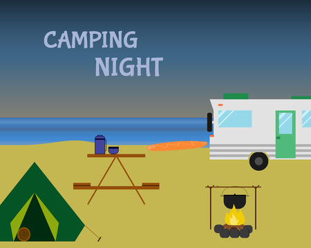 campground: Vintage camping night concept. Retro caravan, motorhome, rv on the beach, summer vacation, and holiday. Flat design. Vector illustration Illustration