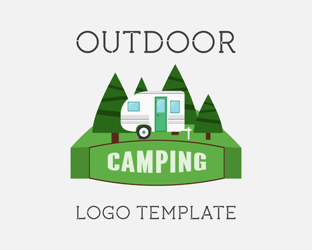 caravan: Adventure Outdoor Tourism Travel Vintage Labels design vector templates. RV, forest holiday park, caravan, motorhome. Exploration Camping Badges Retro style concept icons set. Vector illustration Illustration