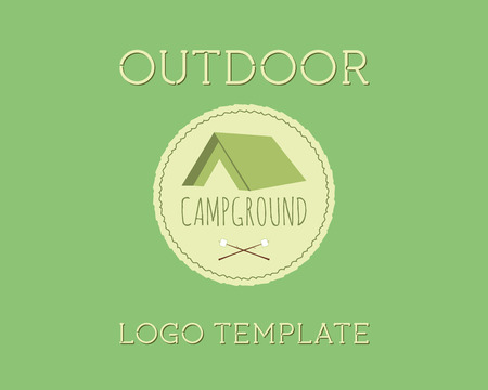 campground: Adventure Outdoor Tourism Travel Vintage Labels design vector templates. Campground, campsite. Exploration Camping Badges Retro style concept icons set. Vector illustration Illustration