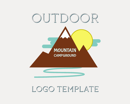 Mountain campsite campground outdoor adventure and expedition badges icon. Isolated on white background. Flat design. Vector illustration Çizim