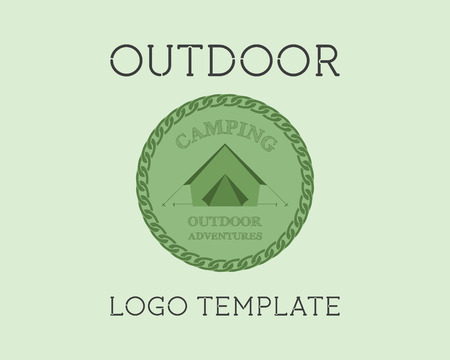 campground: Adventure Outdoor Tourism Travel Template Vintage Labels design. Campground, campsite. Exploration Camping Badges Retro style concept icons set. Summer theme. Vector illustration Illustration