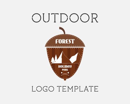 campground: Mountain campsite campground outdoor adventure and expedition logo badges icon. Holiday park. Unusual acorn shape. Isolated on white background. Flat design. Vector illustration
