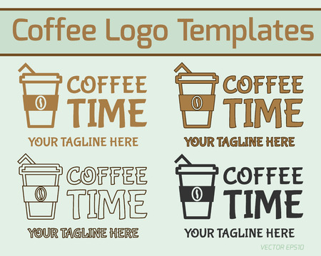 Coffee logo design. Modern style in line, fill and silhouette design. Business theme. Can be used as icon,  badge, on facades of restuarants, cafe, coffee house. Vector illustration Vector