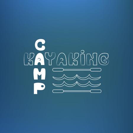 rowboat: Kayak cartel campamento, bandera. En azul como fondo submarino. Ilustraci�n vectorial Vectores
