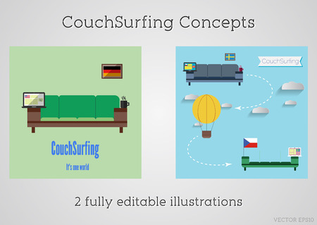 generosity: Set of Couch surfing concept. Travel infographic. Share your sofa. 2015. Travel all over the world for free. Can be used as poster, banner, card, template etc. Flat minimalistic design. Vector