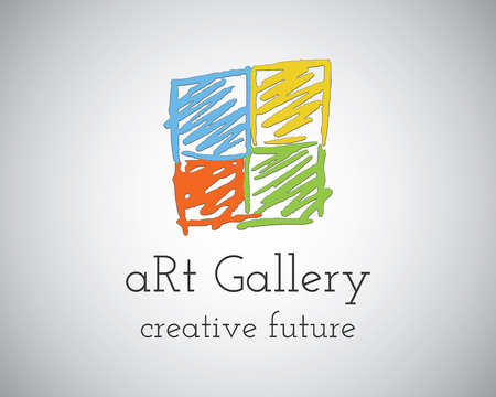 computer art: Abstract Hand Drawn Art Gallery design vector illustration template. Sketched doodle style