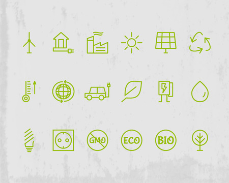 antipollution: Green, Ecology and environmental protection outline icon set. Thin line design. Eco technologies. Isolated on grunge background. Vector illustration