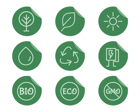 Green, Ecology and environmental protection outline icon set. Thin line design. Eco technologies. On flat green stickers. Isolated on white background. Vector illustration