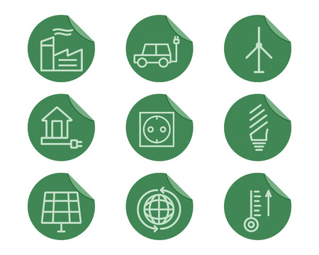 antipollution: Ecol�gico y la protecci�n del medio ambiente esquema conjunto de iconos. Dise�o de la forma. Eco tecnolog�as verdes. En pegatinas planas. Aislado en el fondo blanco. Ilustraci�n vectorial