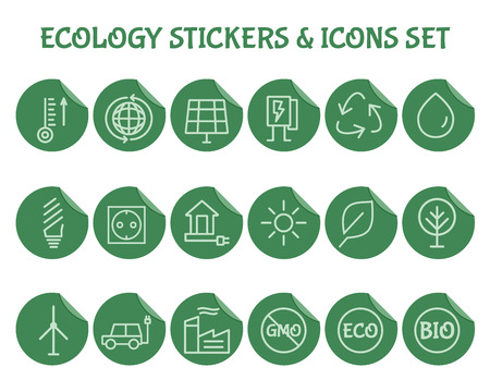 antipollution: Green, Ecology and environmental protection outline icon set. Simple Thin line design. Eco technologies. On flat green stickers. Isolated on white background. Vector illustration Illustration