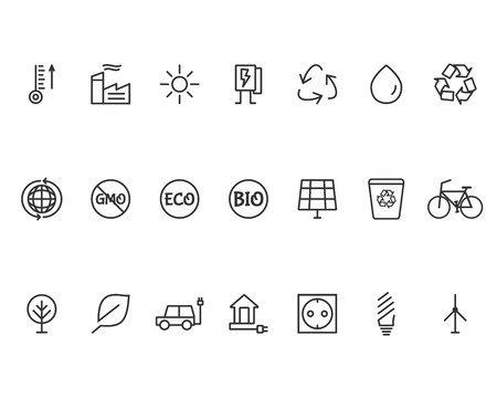 antipollution: Green, Ecology and environmental protection outline icon set.  Illustration