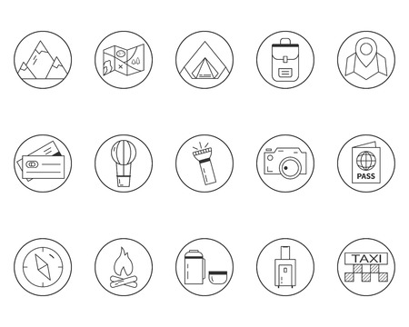 campground: Summer camping and travel outline icons set.