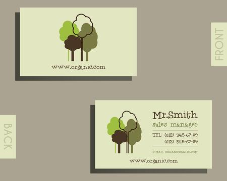 visiting card: Eco, organic visiting card template. Illustration