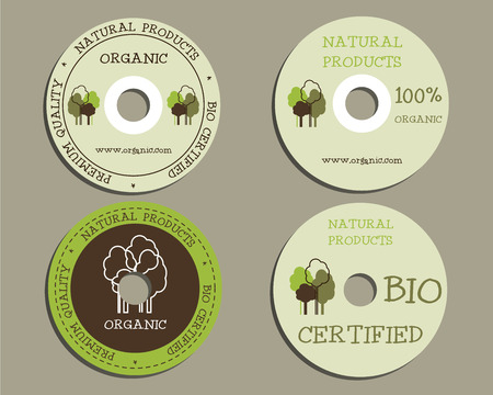 tree disc: Organic CD or DVD templates. sign, icon. Compact, disc, symbol. For natural shop products and other bio, organic business, themes etc. Ecology theme. Eco design. Easy to customize. Vector illustration