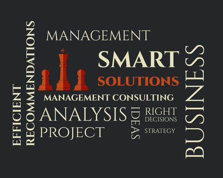 realization: Smart solutions logo template with management Consulting keywords concept. Business background illustration concept. Ideas and project realization. Vector