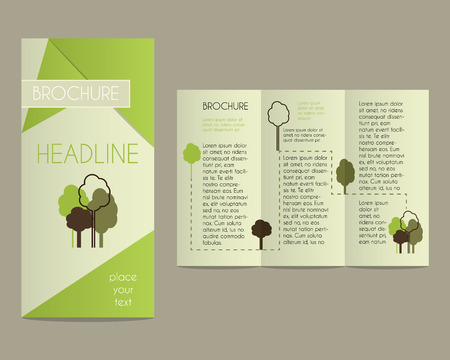concerning: Brochure and flyer design template in polygonal style concerning to ecology, organic themes with infographic elements and eco logo template. Unusual and unique concept. Vector illustration