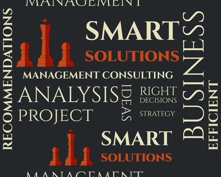 realization: Smart solutions seamless pattern with management Consulting keywords concept. Business background illustration concept. Ideas and project realization. Vector