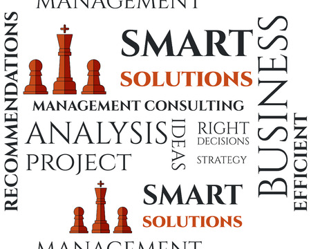 keywords background: Smart solutions seamless pattern with management Consulting keywords concept. Business. On white background illustration concept. Ideas and project realization. Vector Illustration