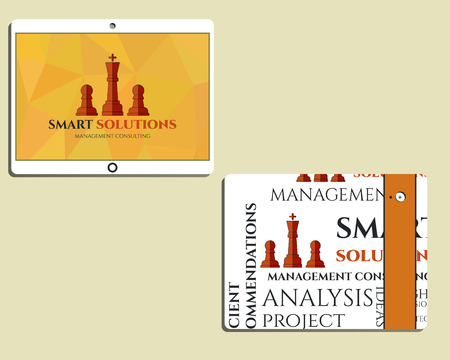 mobile solutions: Flat Mobile device and tablet. Chess Smart solutions design template with management Consulting keywords concept. With company logo. Best for management consulting, finance, companies. Vector