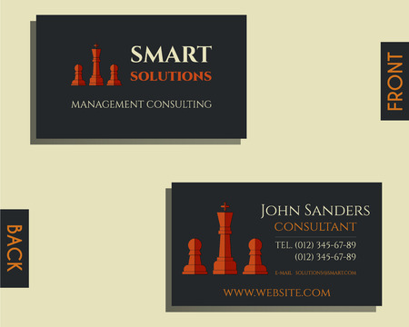 smart card: Business and management consulting visiting card template. Chess Smart solutions design with company . Best for management consulting, finance, law companies. Vector illustration