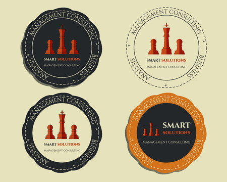 forest management: Business logo templates and badges. Chess Smart solutions design with company logo. Best for management consulting, finance, law companies. Vector illustration