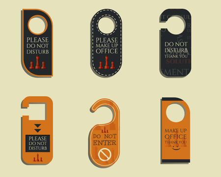 sign holder: Business management consulting Door knob or hanger sign set- do not disturb design. With Eco and bio logo template. Vector illustration Illustration