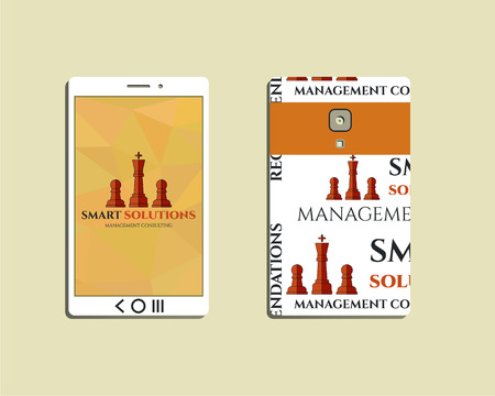 mobile solutions: Flat Mobile device and smart phone. Chess Smart solutions design template with management Consulting keywords concept. With company logo. Best for management consulting, finance, companies. Vector