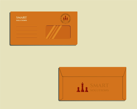 identity management: Brand identity template. Envelope. Front and back sides. Chess Smart solutions design template with management Consulting keywords concept. With company . Vector illustration Illustration