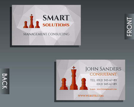 smart card: Business and management consulting visiting card template. Chess Smart solutions design with company logo. Best for management consulting, finance, law companies. Inique design. Vector illustration