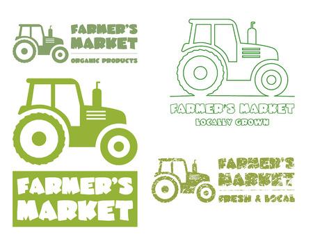 campesinas: Conjunto de diseño de la plantilla del tractor. cosecha o icono granja. Línea fina, diseño de la silueta. Agricultores orgánicos de. Mercado. Tema ecológico. Ilustración vectorial