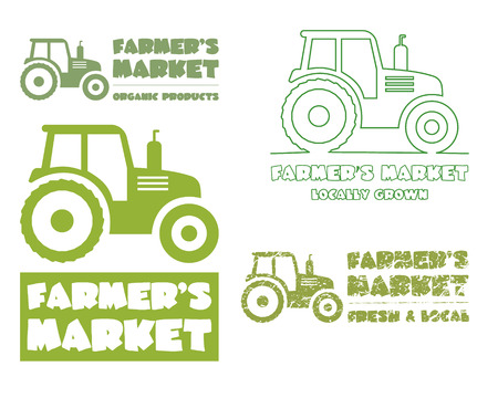 Set of Tractor  design template. harvest or farm icon. Thin line, silhouette design. Organic farmer.'s market. Eco theme. Vector illustration