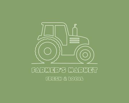 Tractor logo design template. harvest or farm icon. Thin line design. Organic farmer. Vector illustration Vector