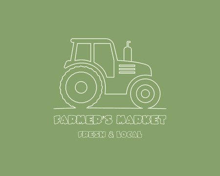 arable: Tractor logo design template. harvest or farm icon. Thin line design. Organic farmer. Vector illustration