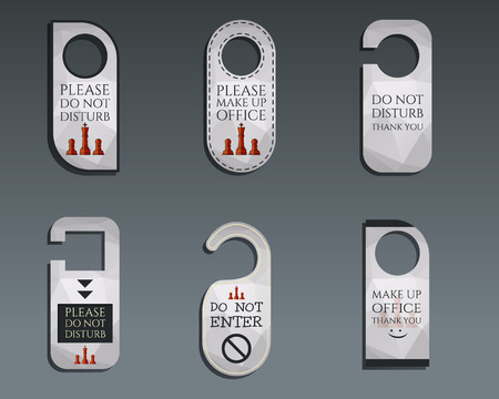 door knob: Business management consulting Door knob or hanger sign set- do not disturb design. Best for management consulting, finance, law companies. Unusual and unique polygonal design. Triangle theme. Vector Illustration