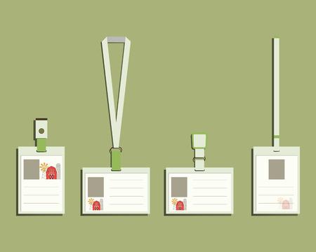 lanyard: Ecolog�a productos cord�n, titular del nombre de la etiqueta y las plantillas de insignia. Verde, granja org�nica. Empresa de productos naturales. Dise�o plano Eco y bio. Ilustraci�n vectorial Vectores
