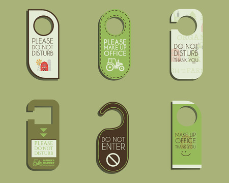 farm shop: Organic farm, shop and other eco business Door knob or hanger sign set- do not disturb design. With Eco and bio logo template. Vector illustration Illustration