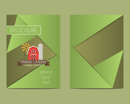 farm shop: Brochure and flyer a4 size design template with Organic farm concept. Best for natural farm, shop etc. Unique geometric design. Vector illustration