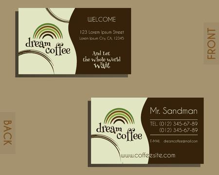 negocios comida: Elementos de identidad Marca - plantilla de la tarjeta de visita. Por cafeter�a, restaurante y otros negocios de comida. Dise�o de manchas de caf�. Ilustraci�n vectorial Vectores