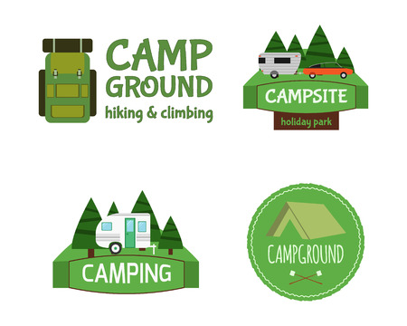 business activity: Outdoor  Activity Tourism Travel icon Vintage Labels design template. RV, forest holiday park, caravan. Camping Badges Retro style icontype concept icons set. Vector illustration