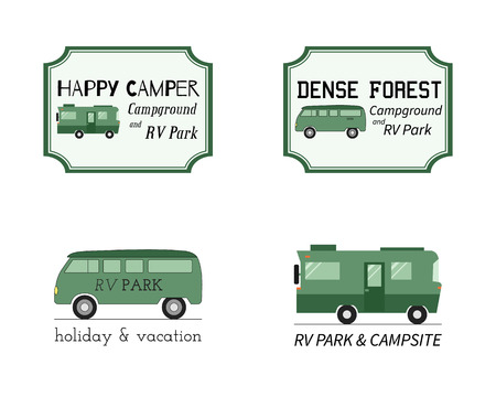 campground: Outdoor Activity Travel icon Vintage Labels design template. RV, forest holiday park, caravan. Camping Badges Retro style icontype concept icons set. Vector illustration