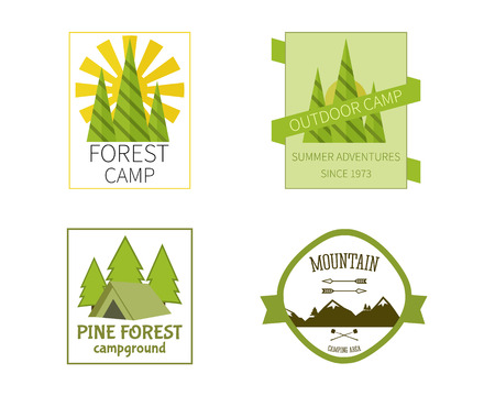 campground: Outdoor Activity Travel icon Vintage Labels design template. Forest holiday park, campground and campsite. Camping Badges Retro style icontype concept icons set. Vector illustration Illustration