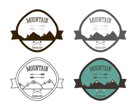 campsite: Set of Mountain campsite logo templates. Outdoor Activity Travel Logo Vintage Labels design. Camping Badges Retro style logotype concept icons set. Vector illustration