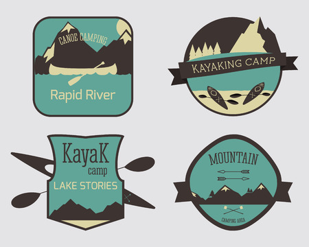 campsite: Set of Kayaking campsite icon templates. Outdoor Activity Travel Logo Vintage Labels design. Canoeing Badges Retro style  concept icons set. Vector illustration