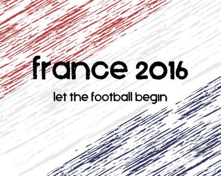 france: France 2016 Football poster. Retro stylish France flag background, typographic design. Vector illustration Illustration