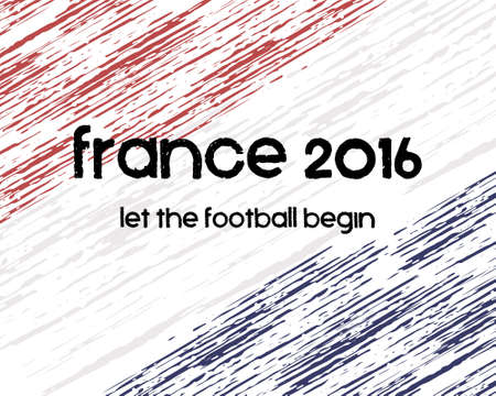 bandera francia: Francia 2016 Cartel del balompi�. Retro estilo France fondo de la bandera, dise�o tipogr�fico. Ilustraci�n vectorial