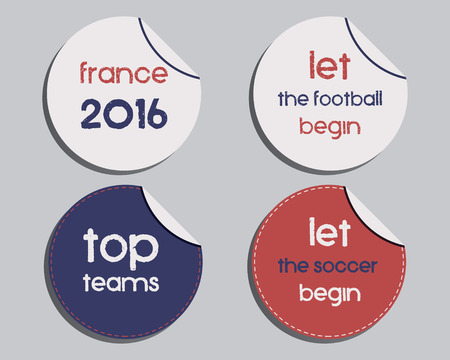 national identity: Set of unusual brand identity - France 2016 Football labels - stickers. The national colors of France design. Isolated on bright background. Vector illustration