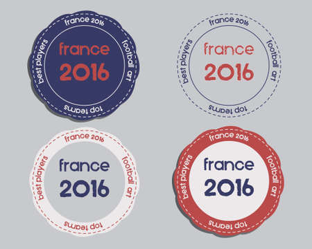 national identity: Brand identity elements - icon templates and badges. France 2016 Football. The national colors of France design. Isolated on bright background. Vector illustration