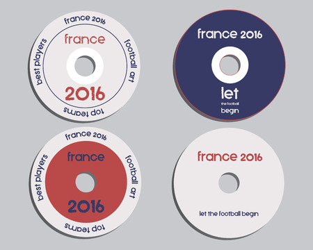 national identity: Brand identity elements - CD, DVD templates. sign, icon. Compact, disc, symbol. France 2016 Football. The national colors of France design. Isolated on bright background. Vector illustration Illustration